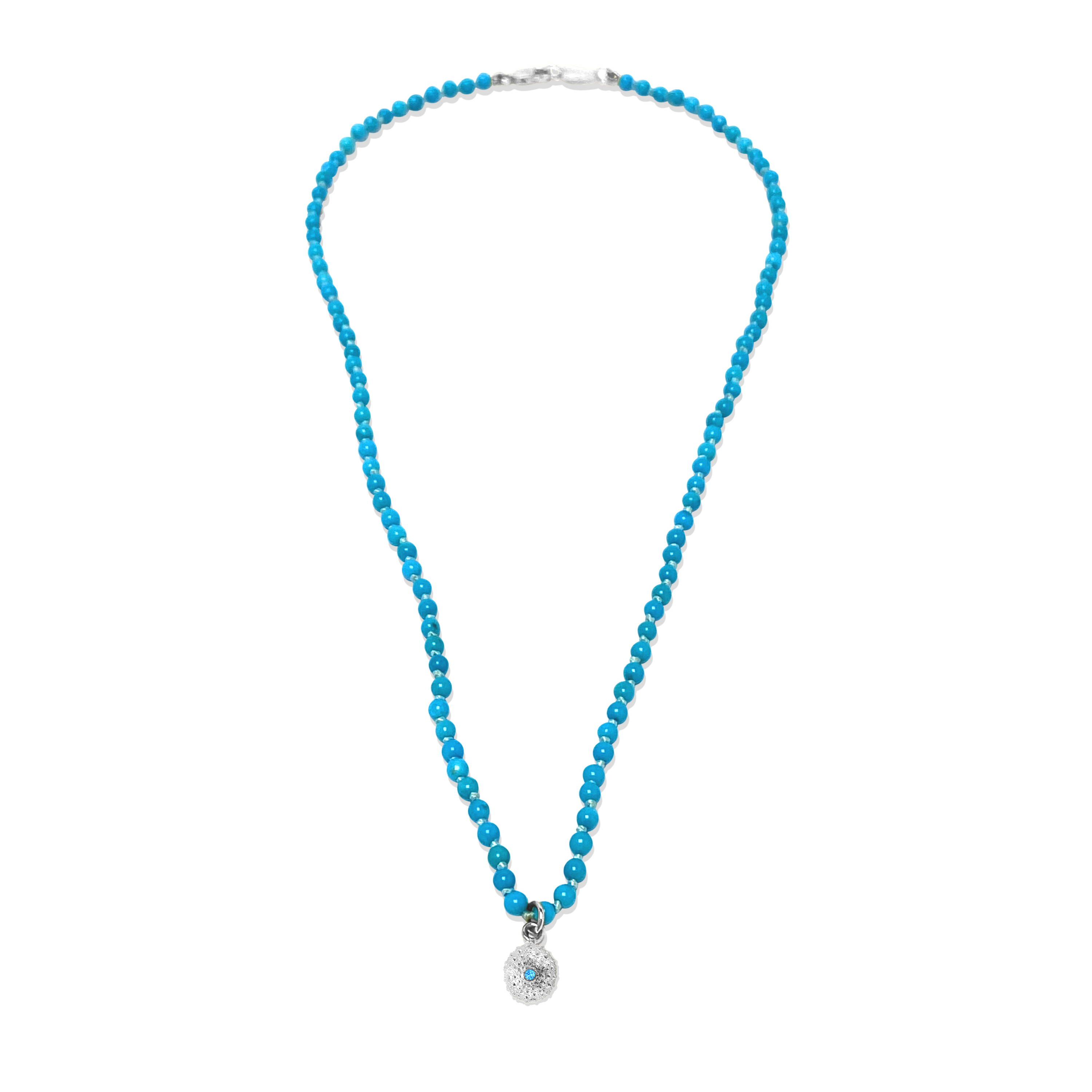 Beaded by the Ocean turquoise necklace with sea urchin charm