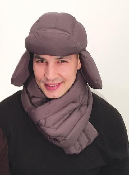 шапка+шарф с отстрочкой на пуху