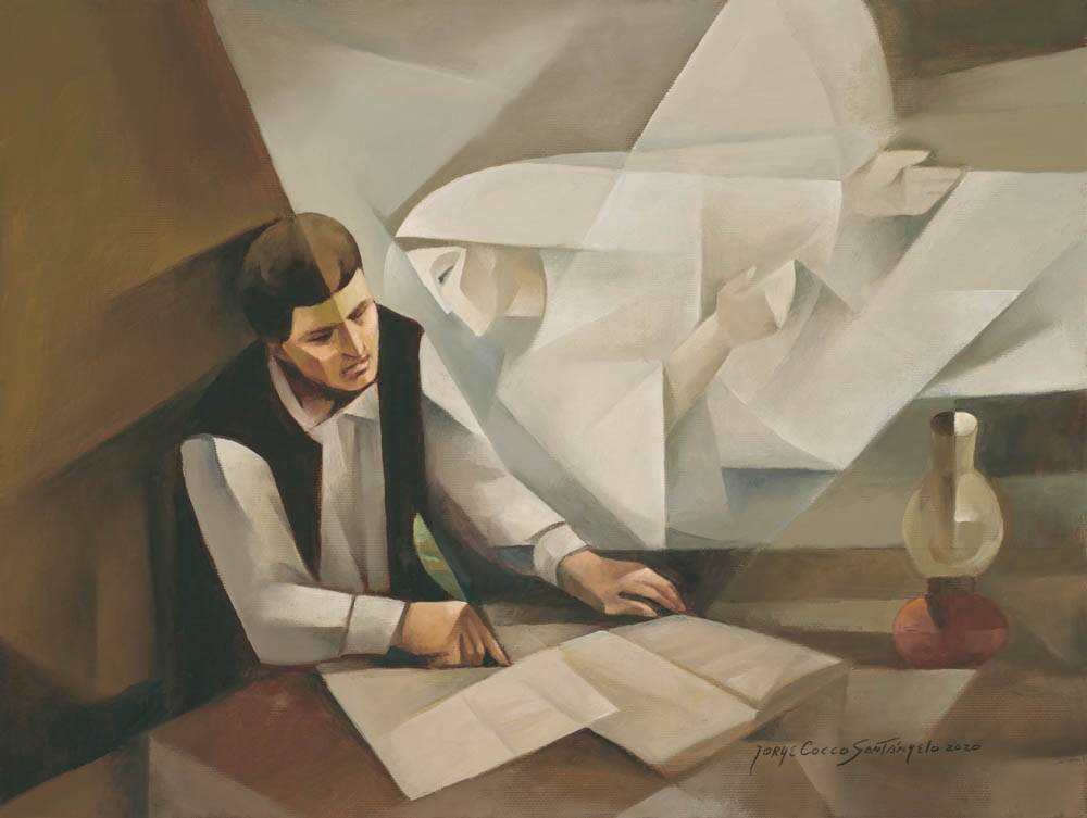 Modern paintings of an angel speaking with Joseph Smith who records his revelations.