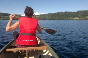 Canoeing and hiking in the summer time