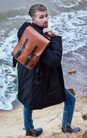 Кожаный рыжий городской рюкзак