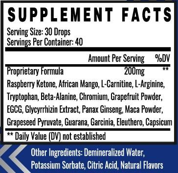 Supplement facts of Zest Keto Booster Drops with African Mango, Garcinia Cambogia and Raspberry Keton