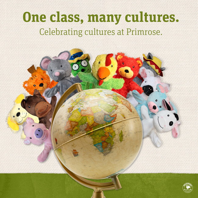 Celebrating cultures poster featuring all the Primrose puppets behind a globe