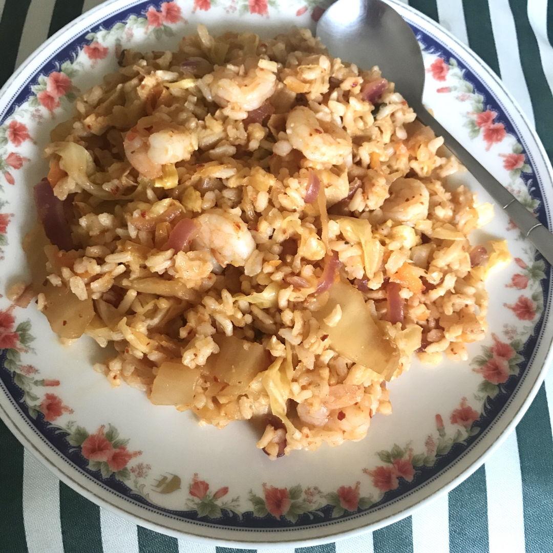 Kimchi fried rice using homemade kimchi. Thanks NC 🤗✌🏻