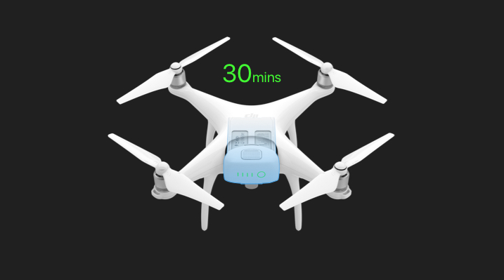 The P4A is compatible with both regular Phantom 4 and high capacity batteries
