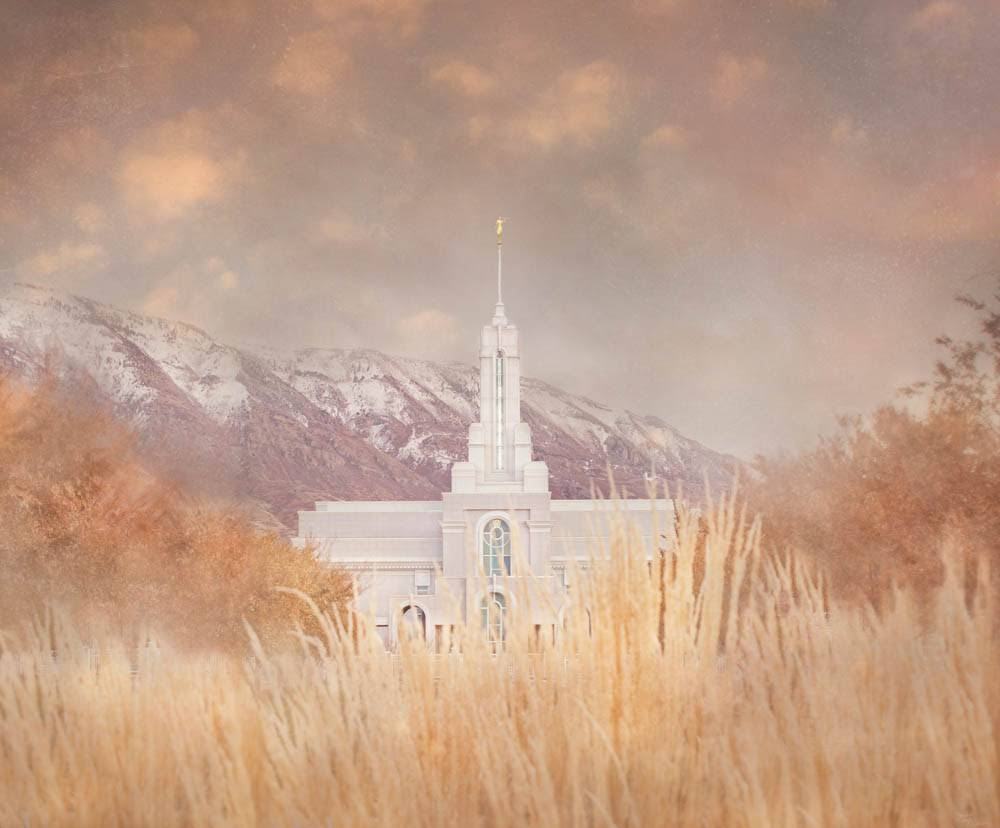 LDS art photo of the Mt Timpanogos Temple behind an autumn field.