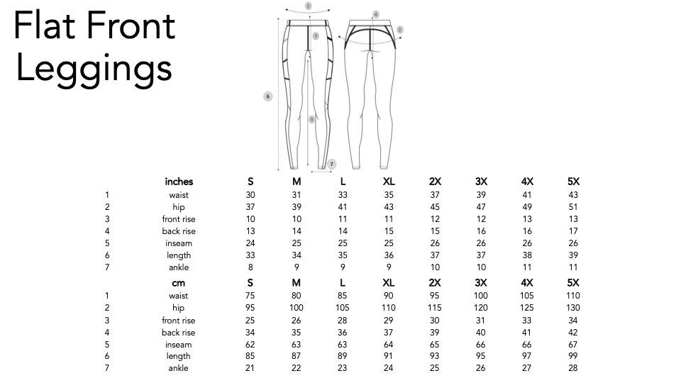 Play Out Flat Front nonbinary leggings size chart.