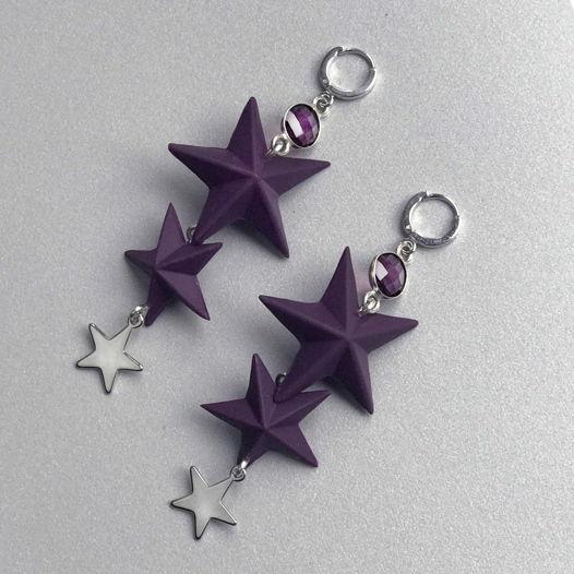 Серьги со звездами из глины ручной работы