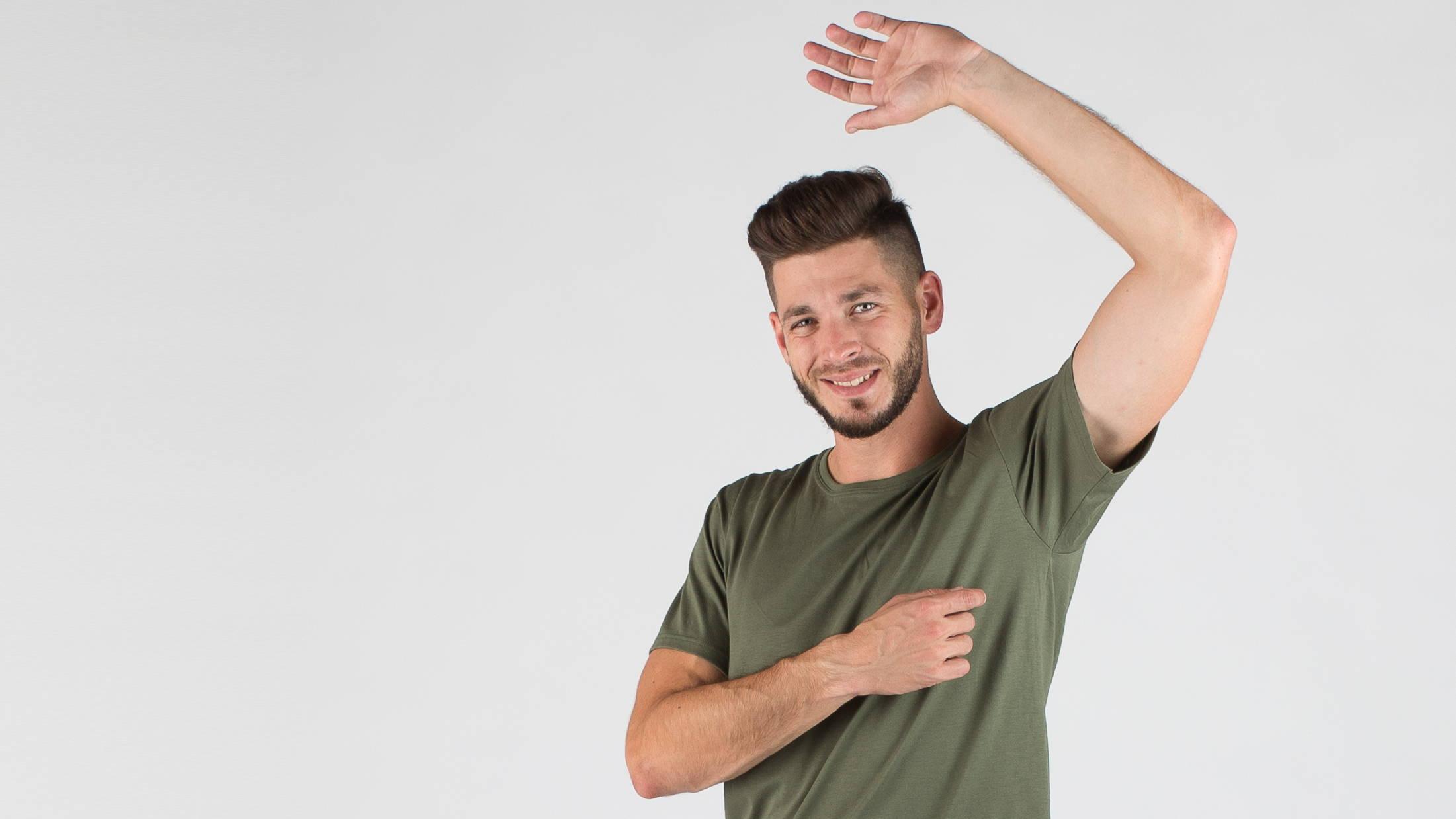 Einzigartige T-Shirts, die keinen Schweiß zeigen. Perfekte Lösung bei Schweißproblemen. Umweltfreundliche Herstellung der Kleidung.