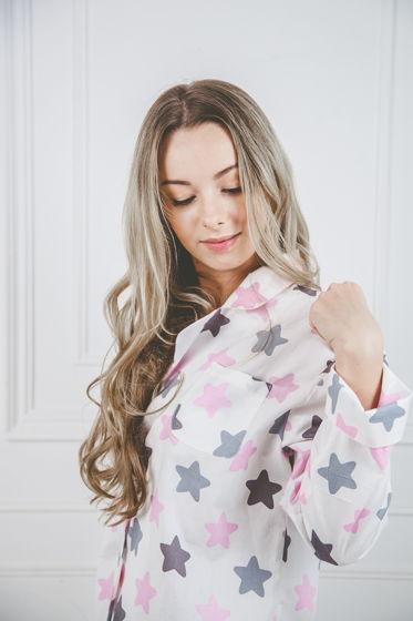 """Женская хлопковая рубашка """"Розовые звёзды"""""""