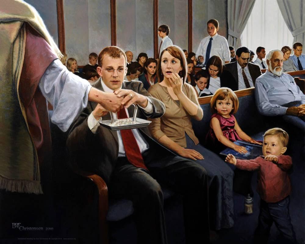 LDS art painting of Christ handing the sacrament to a modern congregation.