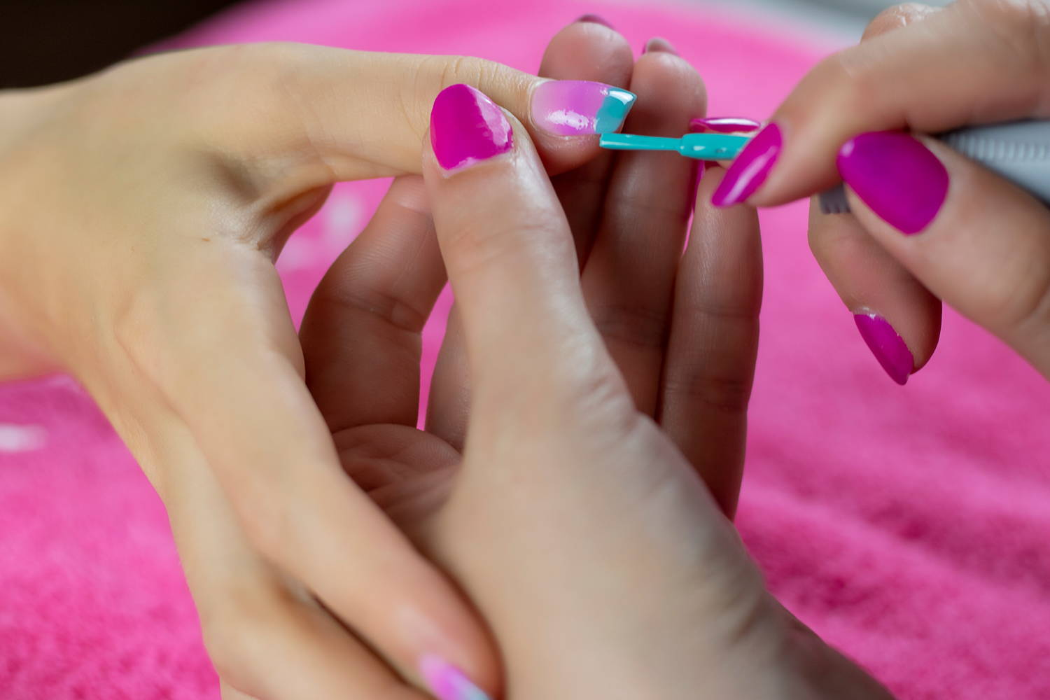 Nail art detail being painted using ORLY Gumdrop nail polish