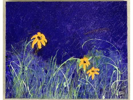 """""""Wildflowers at Night"""" - Acrylic Painting (30"""" x 24"""")"""