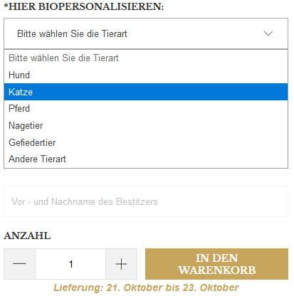 Dateneingabe auf Produktseite