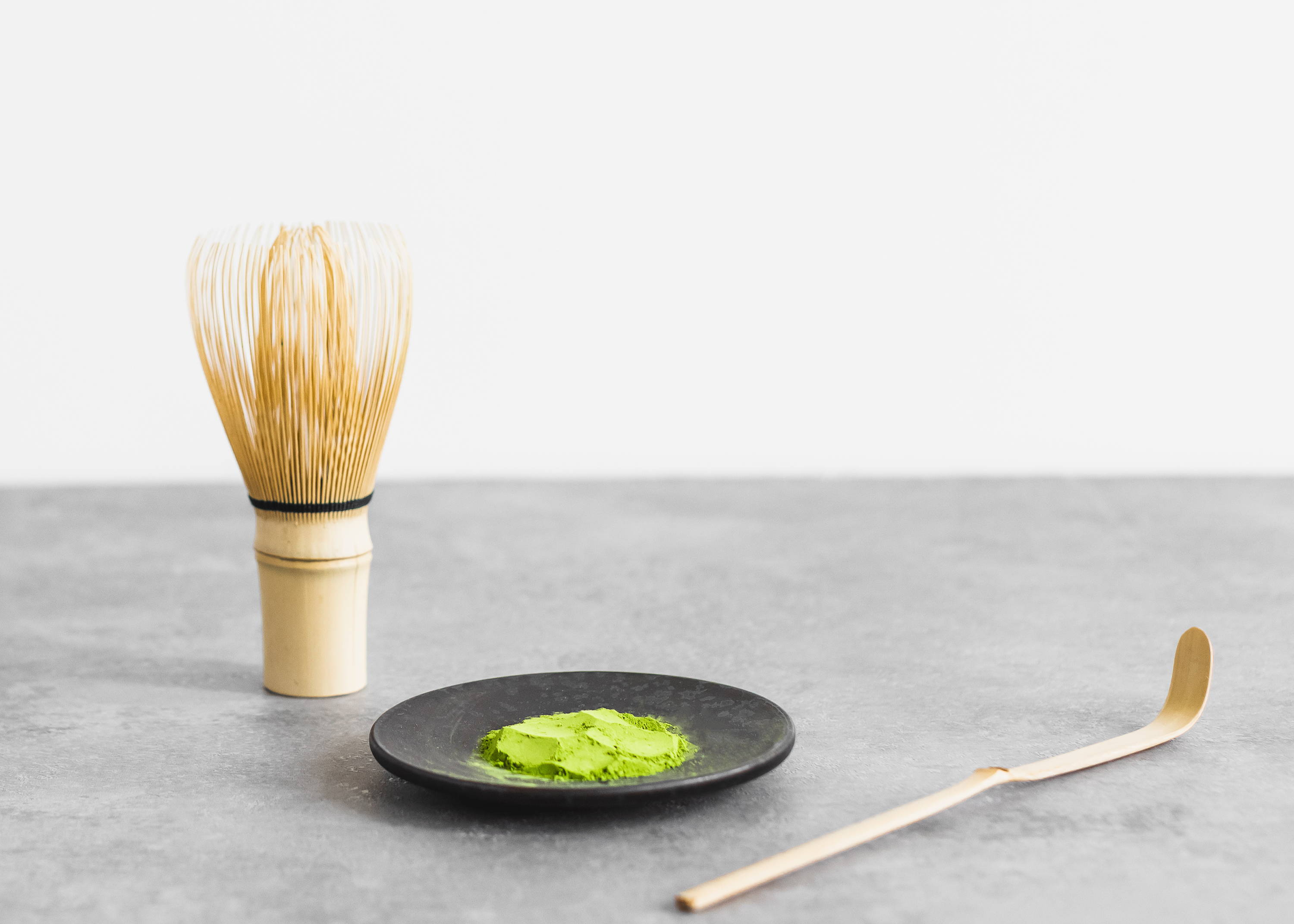 Matcha tea powder and tools