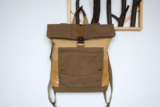 Рюкзак из песочного и коричневого канваса