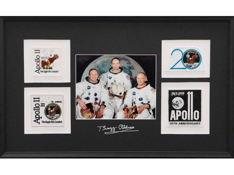 APOLLO 11 CREW PHOTO AND PATCH COLLECTION SIGNED BY BUZZ ALDRIN
