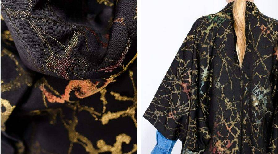 Omeshi silk example on a black silk kimono