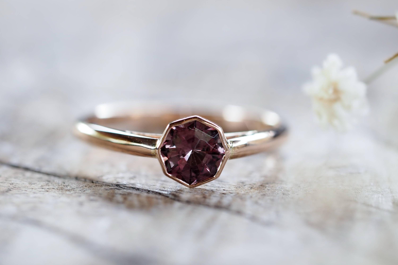 Custom ethical gold garnet ring, January birthstone