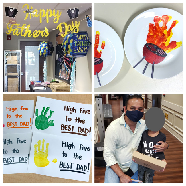 collage of hand-made gifts from students and pizza celebration