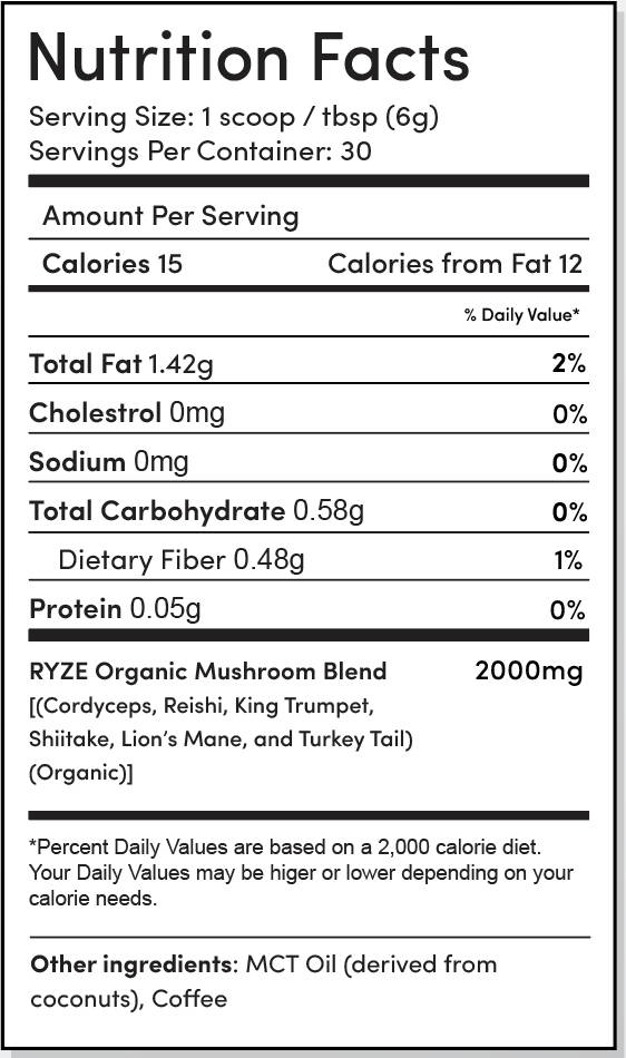 RYZE Nutrition Label