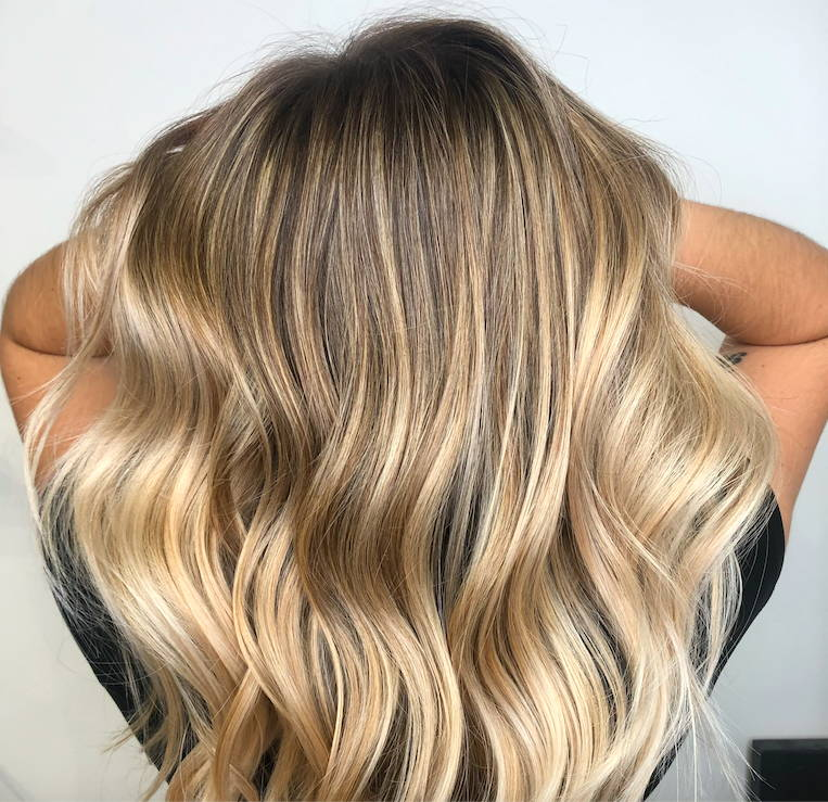 Glossy blonde balayage by Melanie Guille Davines