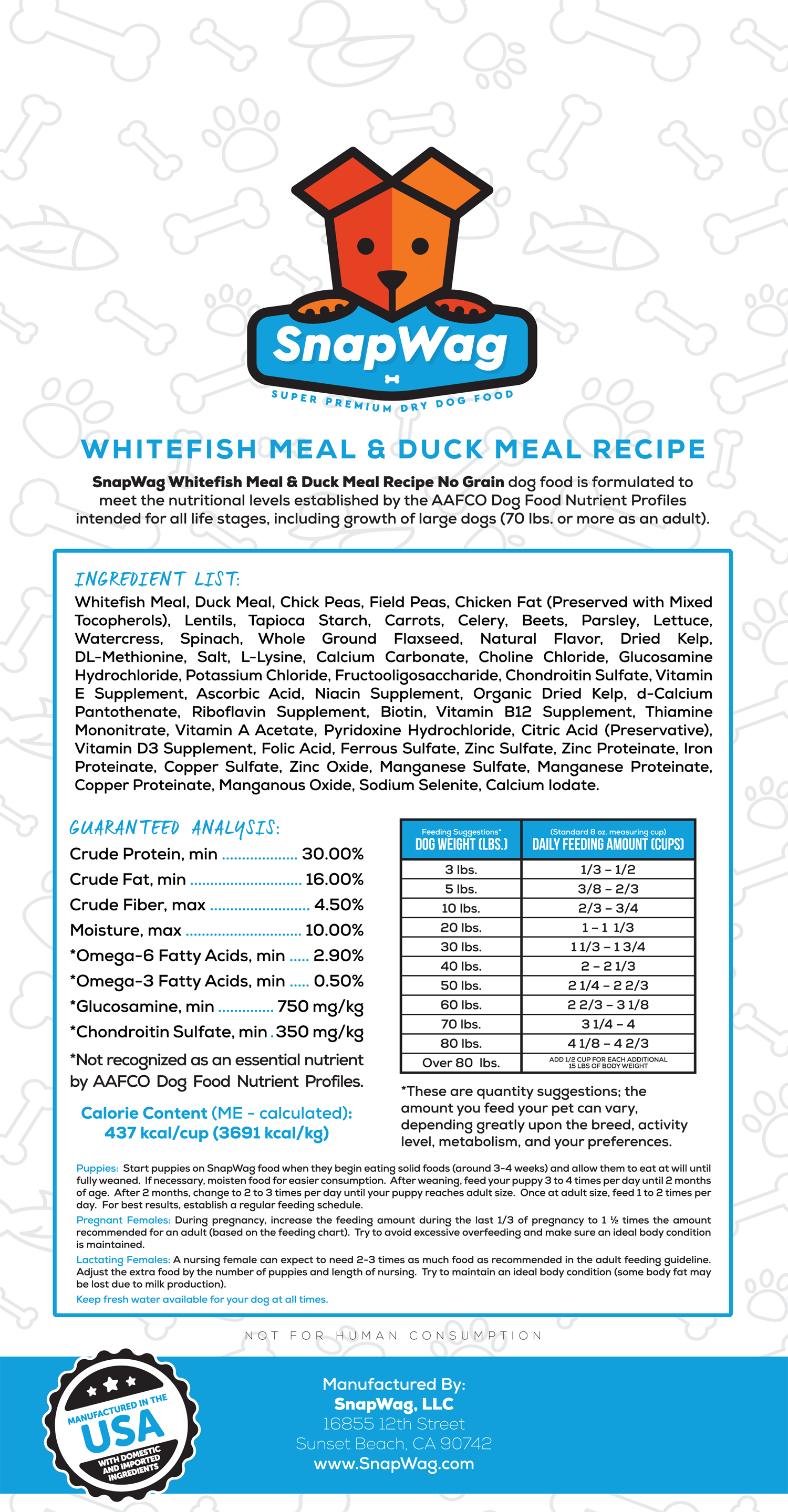 Whitefish Meal and Duck Meal Dog Food Recipe Label - SnapWag.com
