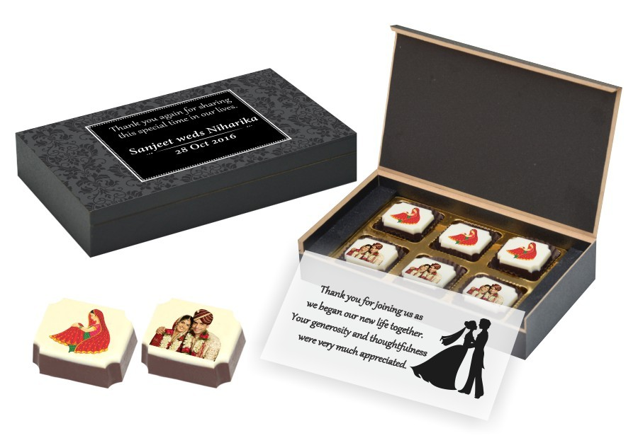 customised box of chocolates with modern theme and photo on chocolates