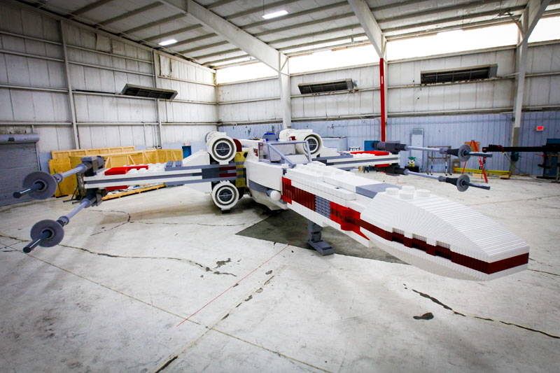 X-wing model LEGO sculpture