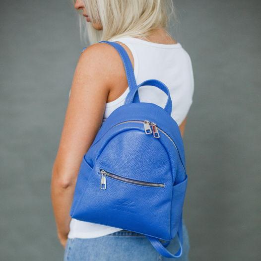 Рюкзак из кожи BRUNO MO василькового цвета