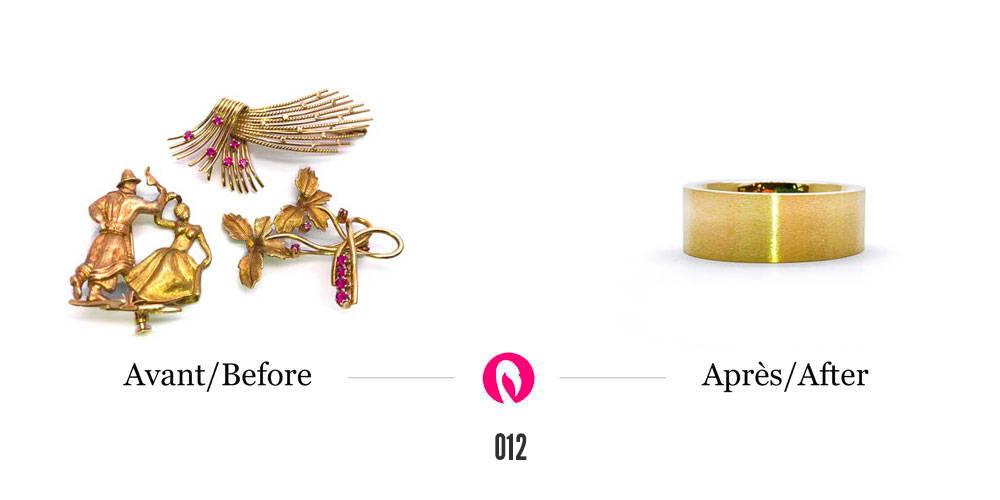 Trois broches en or jaune transformés en un jonc large et massif pour homme en or jaune.