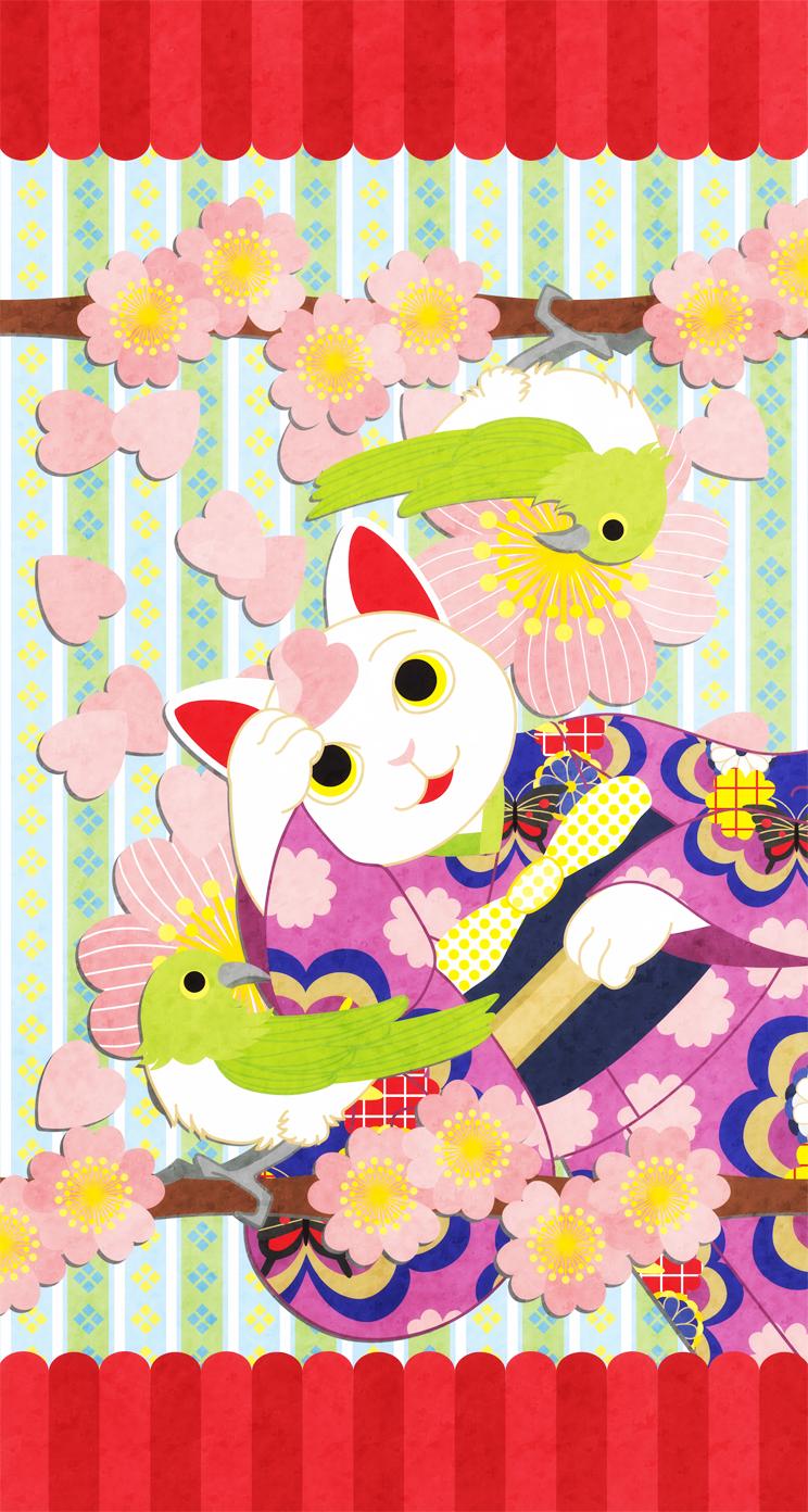 春うらら 着物猫と桜と鶯 Iphone壁紙デザイン Ios7 Iphone5s 5c 5