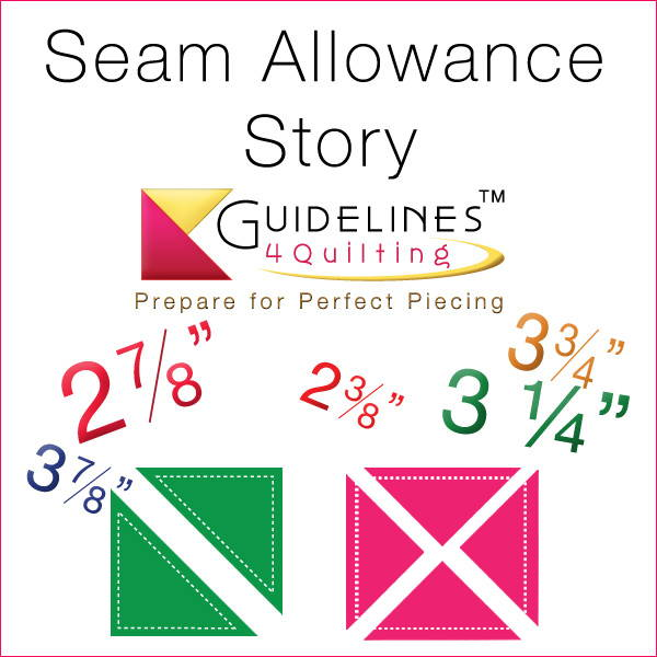 Seam allowances for half square triangles and quarter square triangles are not what you think - by Guidelines4Quilting