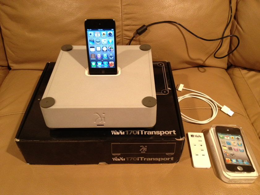 Wadia 170i with iPod Touch 32 Gig, 4th gen. Current model. silver dock with black ipod.