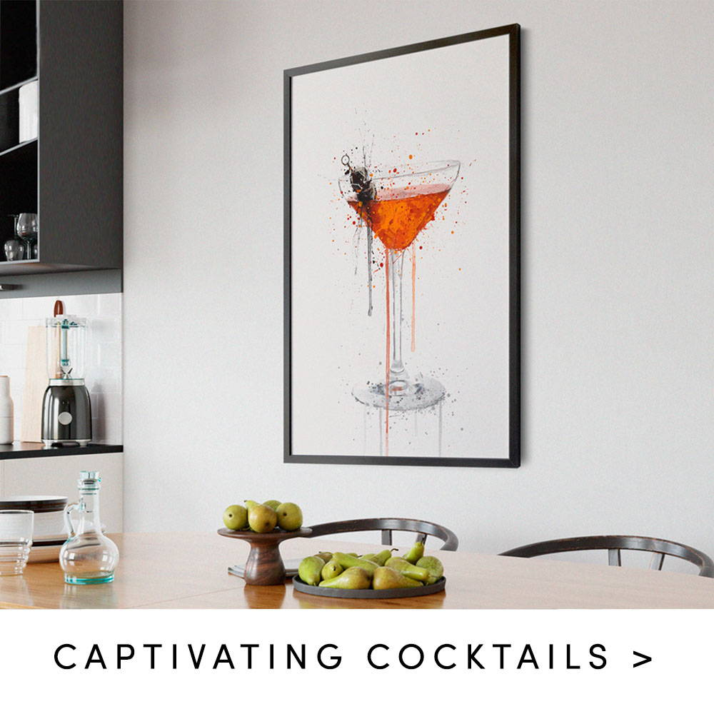manhattan cocktail print in a kitchen. Text states captivating cocktails.
