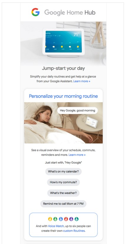 Google says good morning in their email.