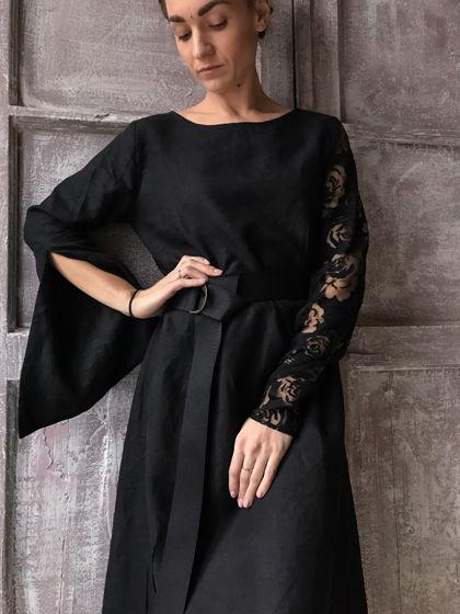 Платье изо льна с ассиметричными рукавами
