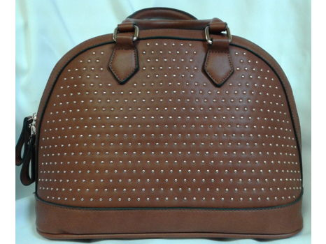 Brown Studded Satchel