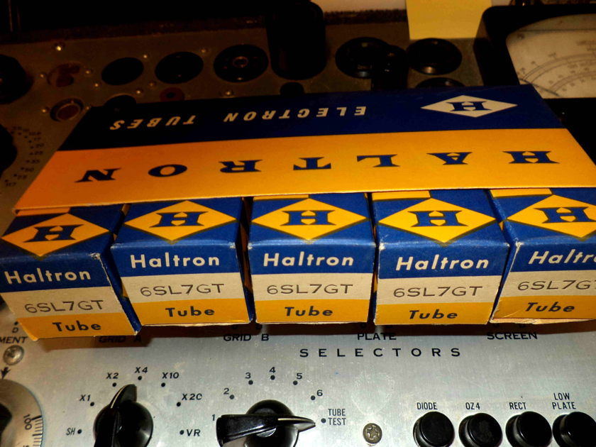 LOT OF FIVE 6SL7GT TUBES HALTRON  MADE IN ENGLAND NOS ,PRISTINE