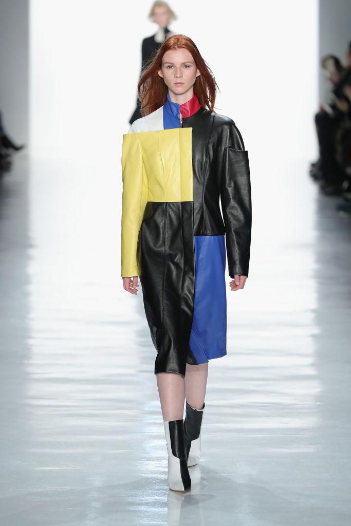 Kevin Ho Color Block Leather Coat