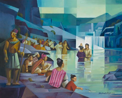 LDS art painting of scene from the Book of Mormon of people getting baptized.