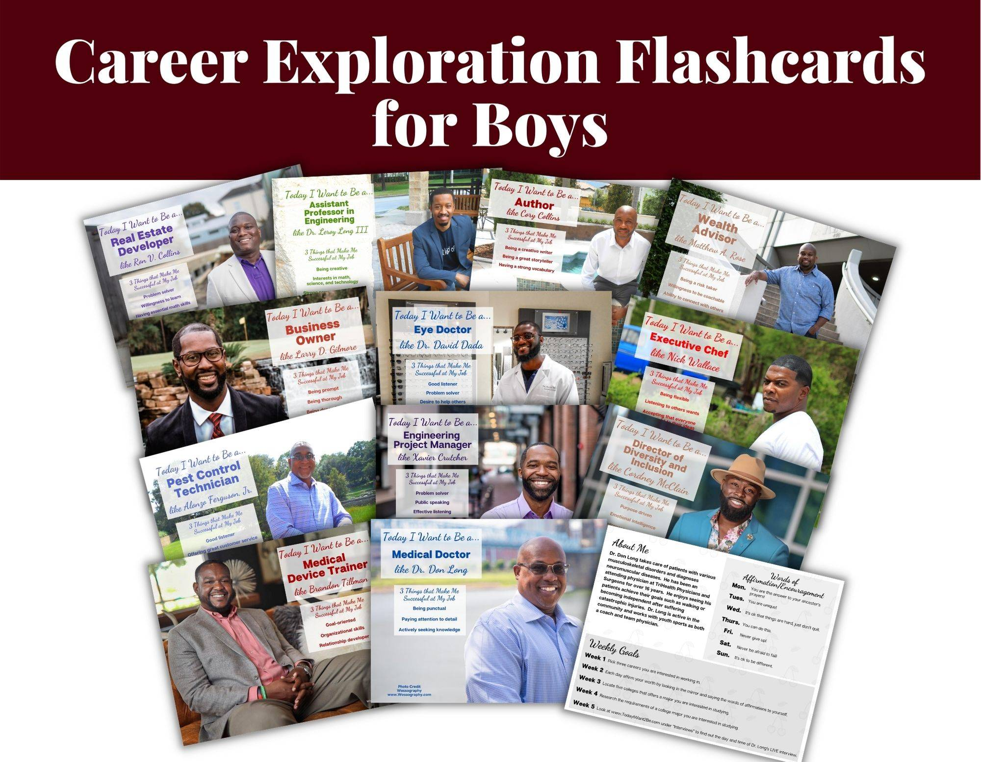 12 career exploration flash cards and resources of black african American men with their job titles