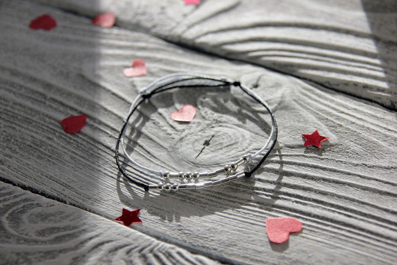 Парные браслеты с вашими именами на азбуке Морзе
