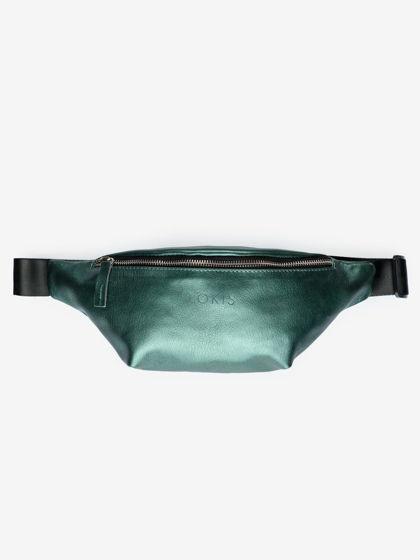 Поясная сумка из натуральной кожи цвета зеленый металлик