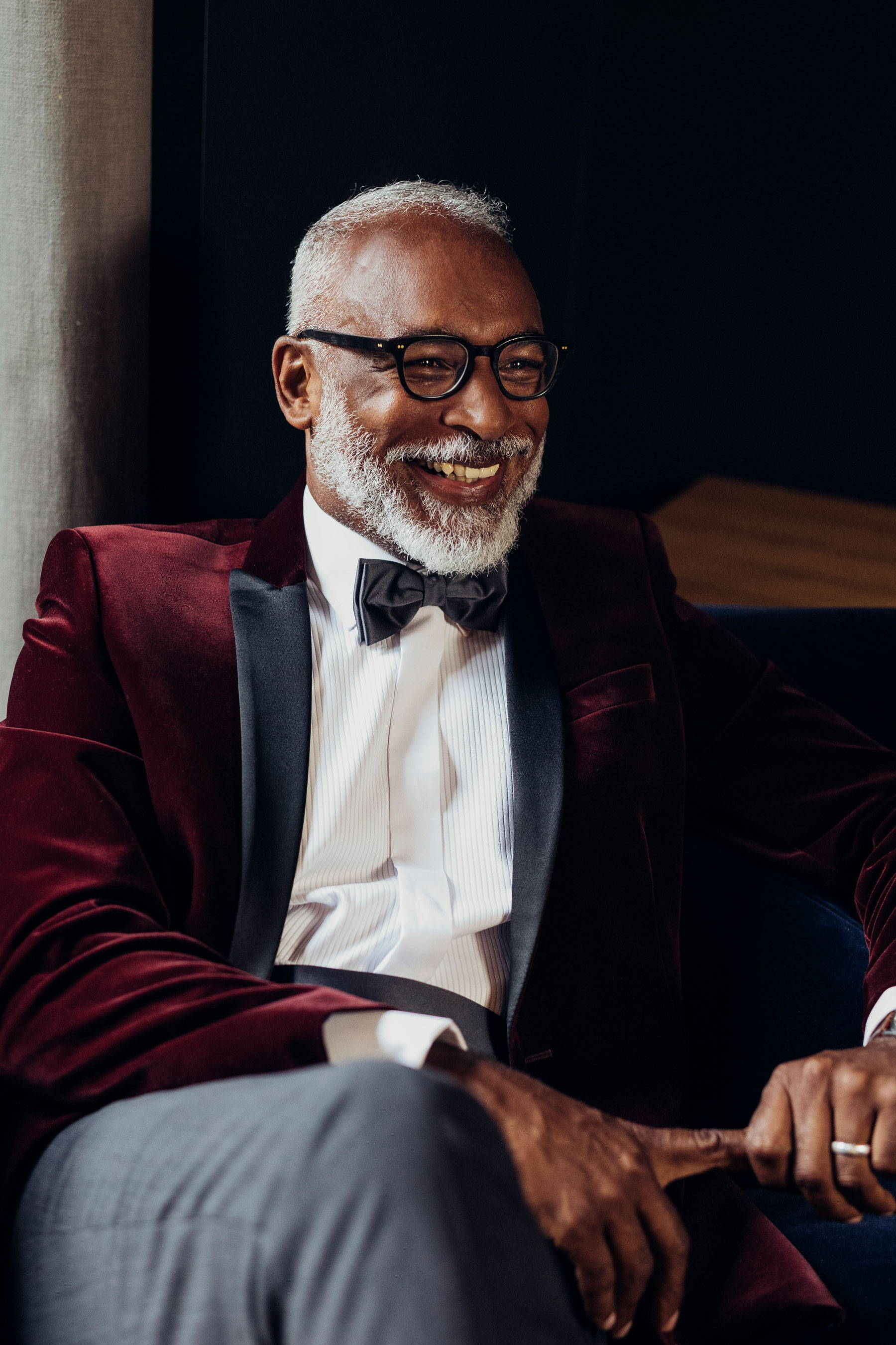 Man wearing bow tie and suit