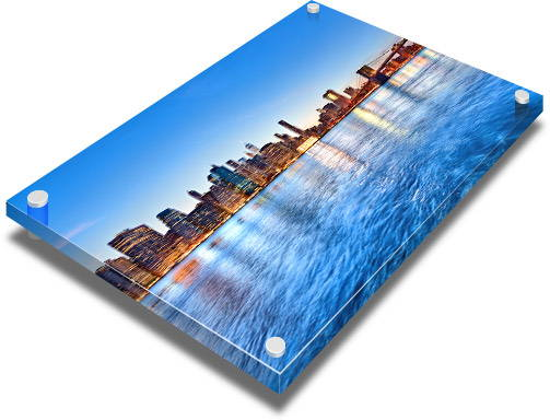 Glossy acrylic print with standoffs