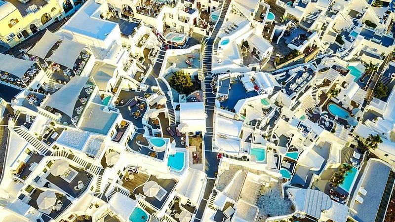 White-washed buildings of Santorini, Greece