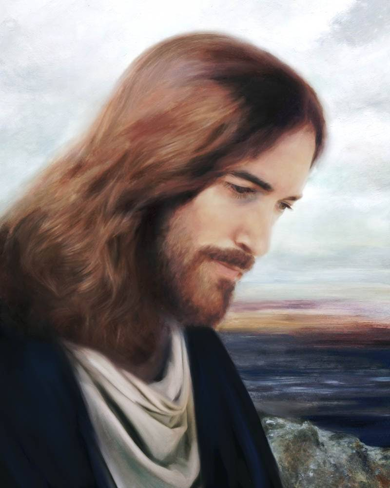 Painted portrait of Jesus from a profile angle. He is walking along the seashore.