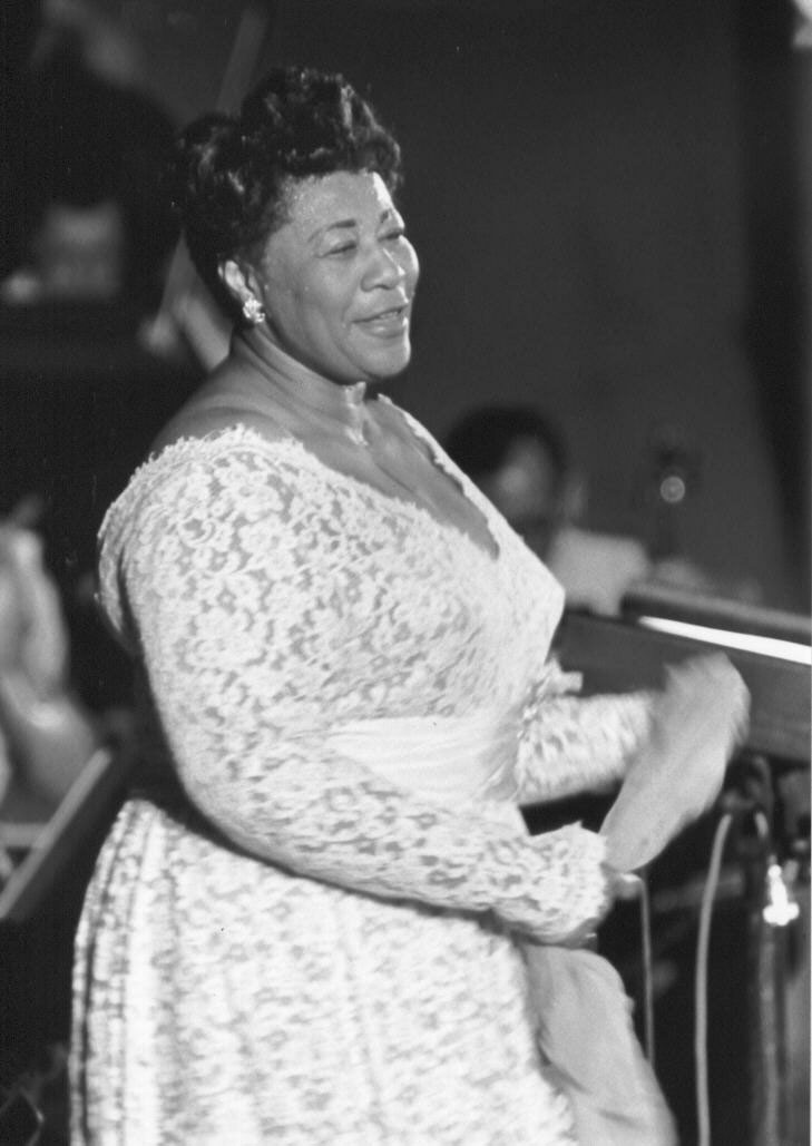 "Ella Fitzgerald performing at the Hollywood Bowl on July 23, 1960. <br> <em class=""notranslate"">(Gift of the Rothschild Family. Photograph by Otto Rothschild. Used by Permission of The Music Center Archives.)</em>"