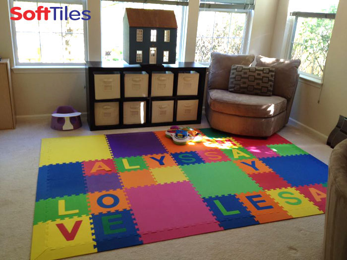 Kids foam floor mat alphabet foam puzzle mat softtiles for Playroom floor ideas